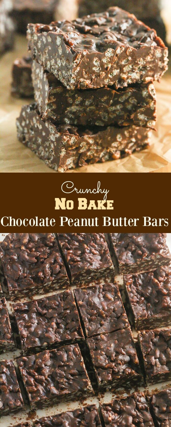 Crunchy No Bake Chocolate Peanut Butter Bars from The Weeknight Dinner Cookbook