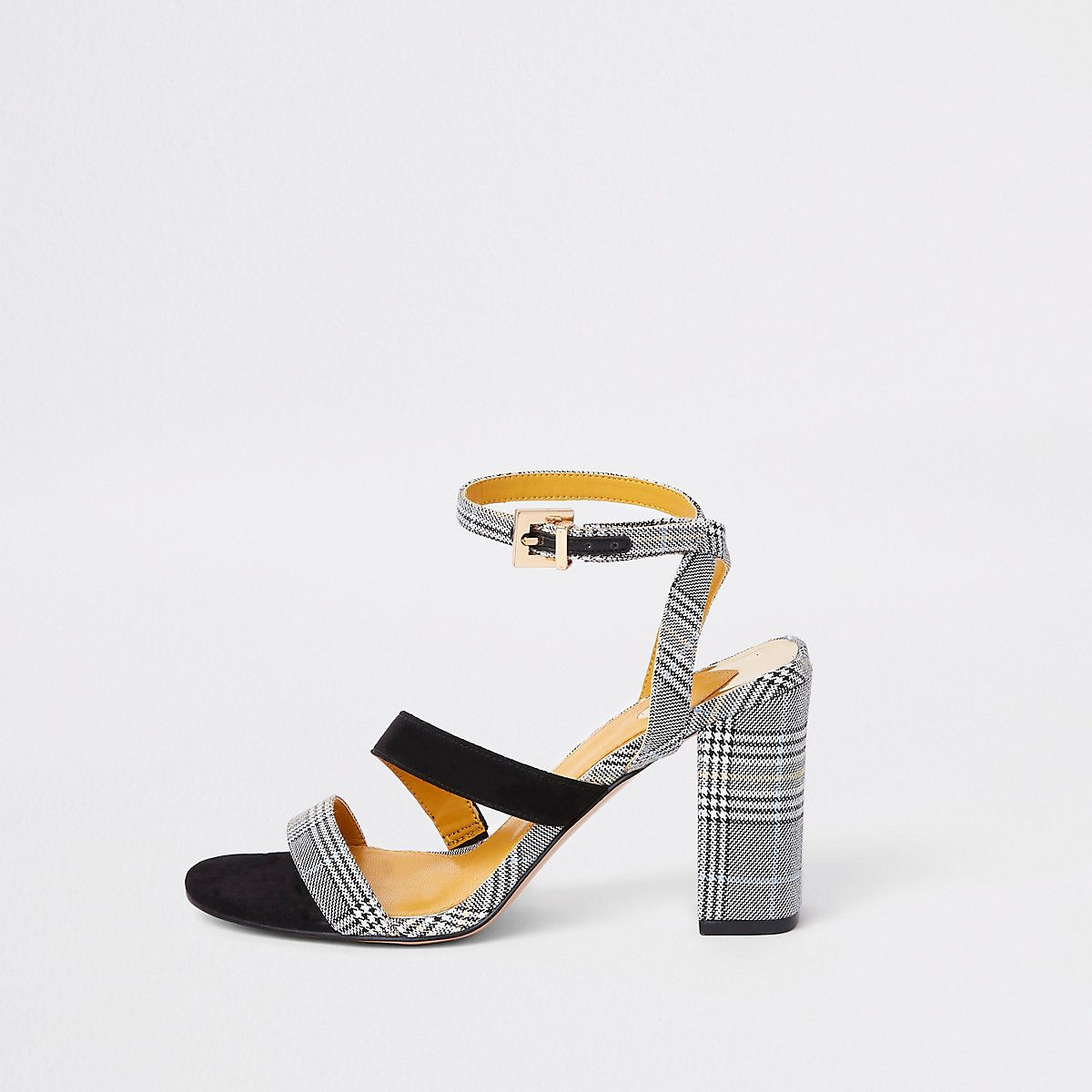 570cff68a57 River Island Grey check strappy asymmetric sandals