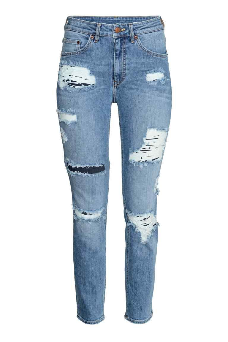 31334740b Slim High Ankle Trashed Jeans: 5-pocket ankle-length jeans in washed  stretch denim with hard-worn details, a high waist and slim legs.