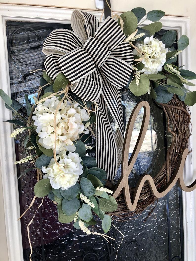Photo of Farmhouse Wreath- Year Round Wreath- Everyday Wreath- Eucalyptus Wreath- Hi Wreath- Front Door Wreath-Front Door Decor- Farmhouse Decor