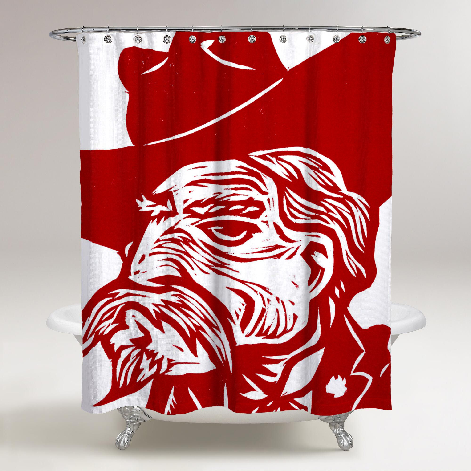 OLE MISS REBELS RED ART PAINTING LOGO WALLPAPER Printed Shower Curtain Bathroom Decor Price