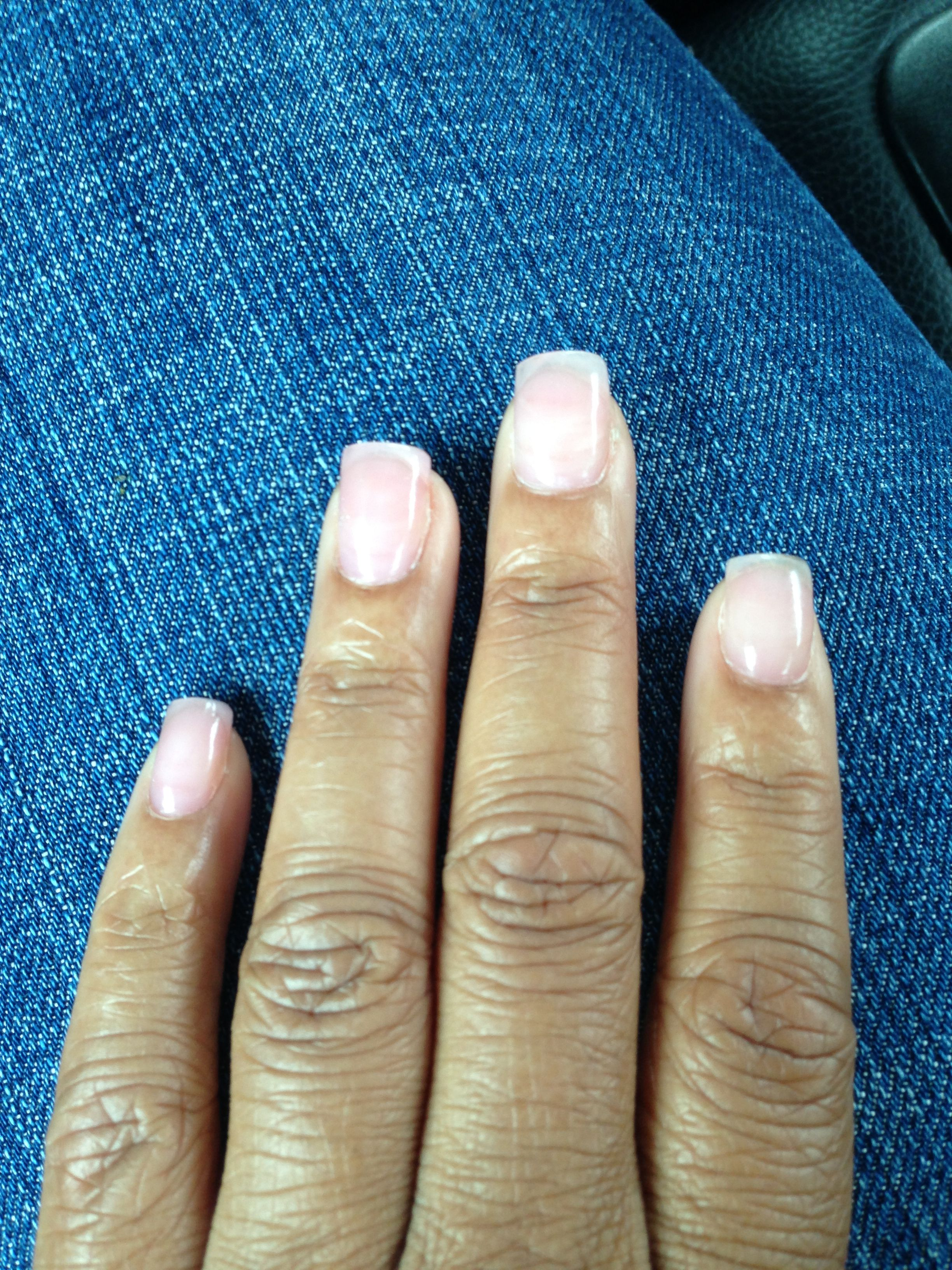Acrylic overlay w/ clear polish #natural #nail look | Hair Skin ...