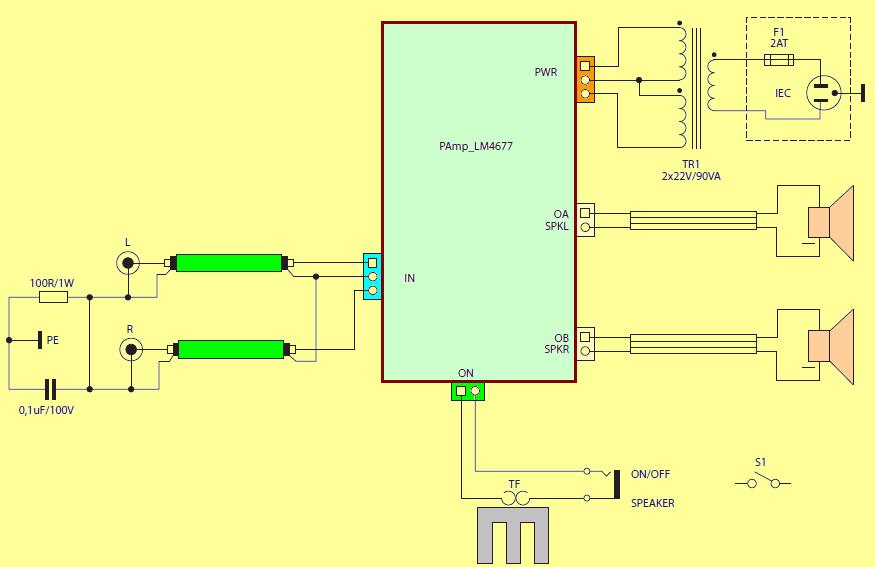Connection Diagram Lm4766 Amplifier Case Schematic Lm4766 Amplifier Circuit Module Electronics Projects Amplifier Circuit
