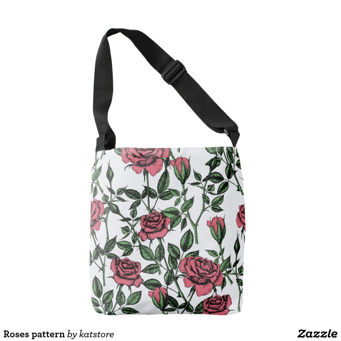 dc7cc9a60c Roses pattern crossbody bag  zazzle  bag  tote  roses  pattern  vintage   drawing  floral  botanical  katerinakart