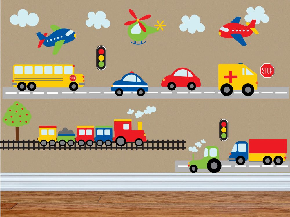 """""""Planes, Trains, & Automobiles"""" Boys Peel and Stick Wall Art"""