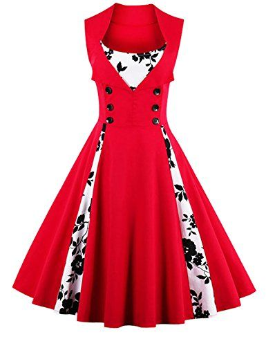 c31e78c7a9d4f Amazon.com: Killreal Women's Polka Dot Retro Vintage Style Cocktail Party Swing  Dress: