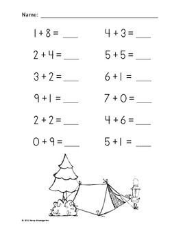 Camping Time Addition Practice Packet (Sums of 0-10
