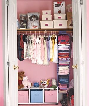 Hang fabric-covered collapsing shelves from a closet rod to arrange your children's outfits for each day of the week.