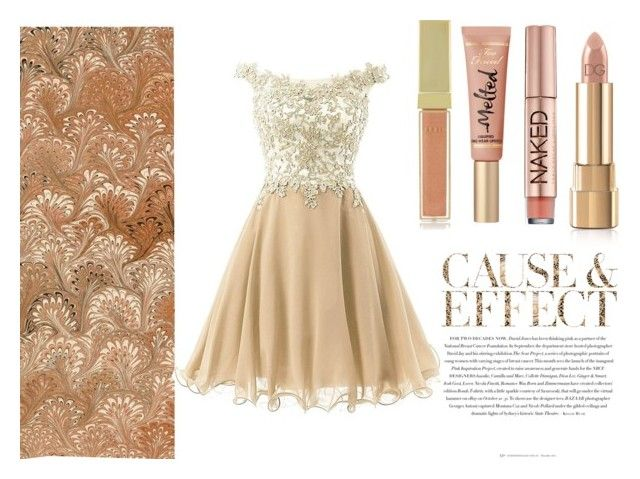 """Pretty in gold"" by sofia-lodhi ❤ liked on Polyvore featuring Envi, Urban Decay, Dolce&Gabbana and AERIN"