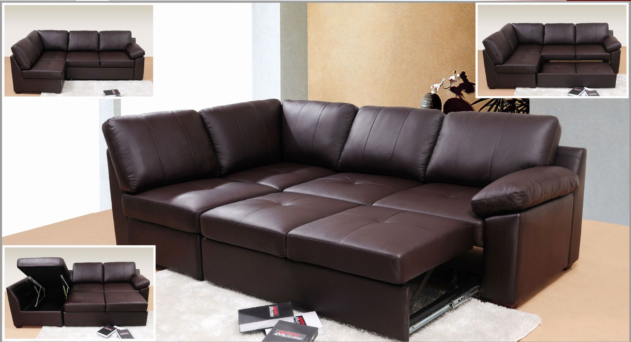 Idea Leather Corner sofa Bed with Storage Photograpy Leather ...