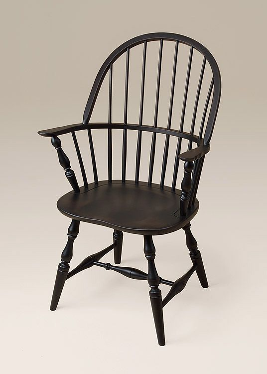 winthrop windsor armchair with a antiqued black over red finish