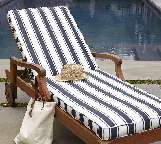 Chaise Cushion - Navy French Stripe Sunbrella® | Pottery Barn : pottery barn chaise cushion - Sectionals, Sofas & Couches
