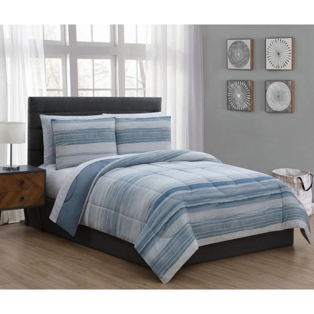 Addison House Laken 7 Piece Blue Queen Bed In A Bag Set