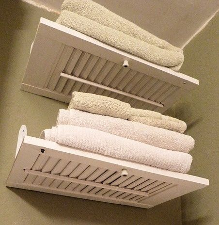 Don't throw out your old shutters, get creative with them. These shelves are just one way you can reuse them.