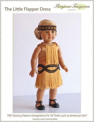 Bonjour Teaspoon The Little Flapper Dress Doll Clothes Pattern 18 inch American Girl Dolls | Pixie Faire