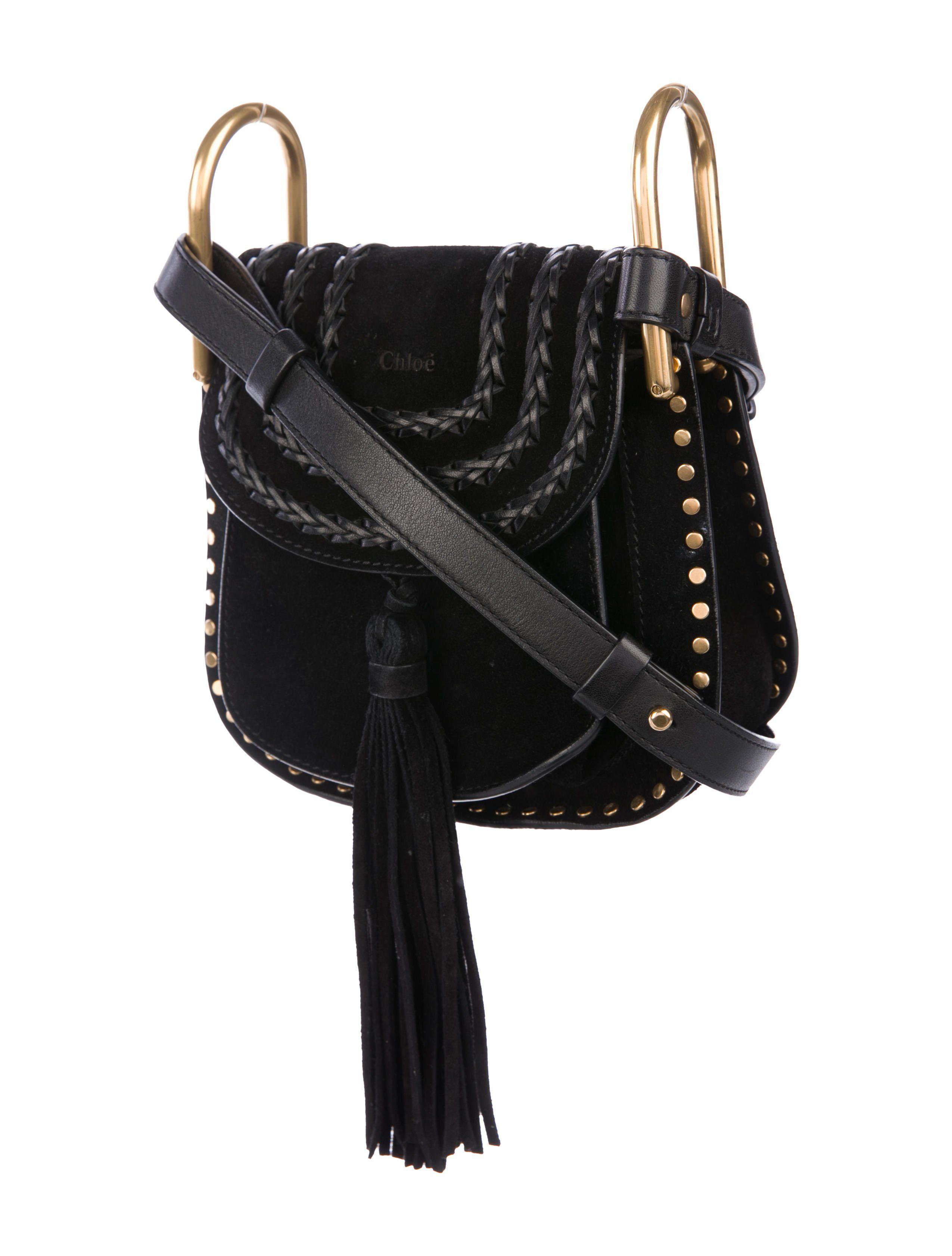 d5d288433ed82 Black suede Chlo¨¦ mini Hudson saddle bag with gold-tone hardware, single  flat shoulder strap, single slit pocket under flap, beige suede interior,  single