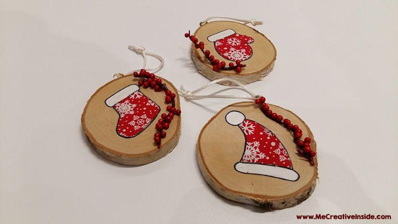 Decoriamo l 39 albero con i dischi di legno me creativeinside - Decorazioni natalizie in legno ...