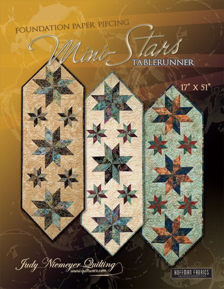 "Mini Stars Tablerunner was designed as a tool to teach beginner level foundation paper piecing. Size: 17""x51"""