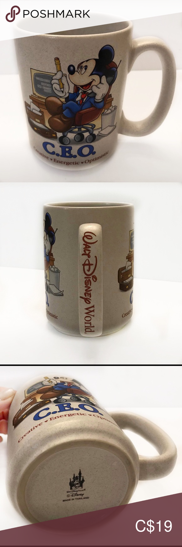 MICKEY C.E.O. (Creative, Energetic, Optimistic) Love Mickey? Are a CEO? This is a collectors mug as it is very limited (and possibly from a special 2005 Boss' Day promotion at Disney World) in availability in resale.  In excellent condition - possibly never used as there is NO staining in the mug, nor scratches or marks. Disney Kitchen Coffee & Tea Accessories #disneykitchen
