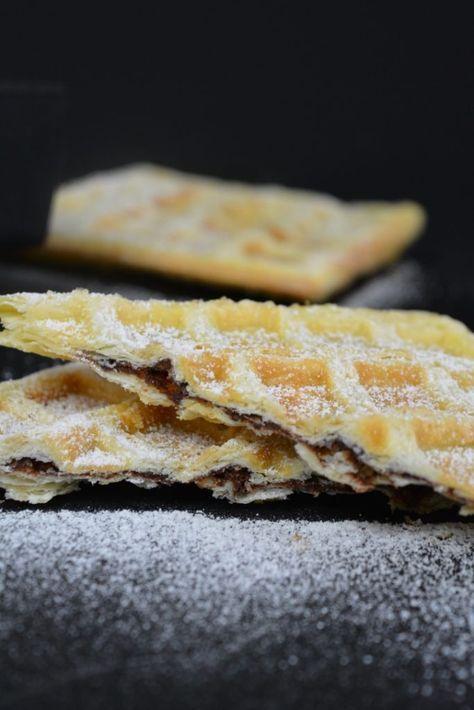 Blätterteig Waffeln mit Nutella Füllung - Der Kuch