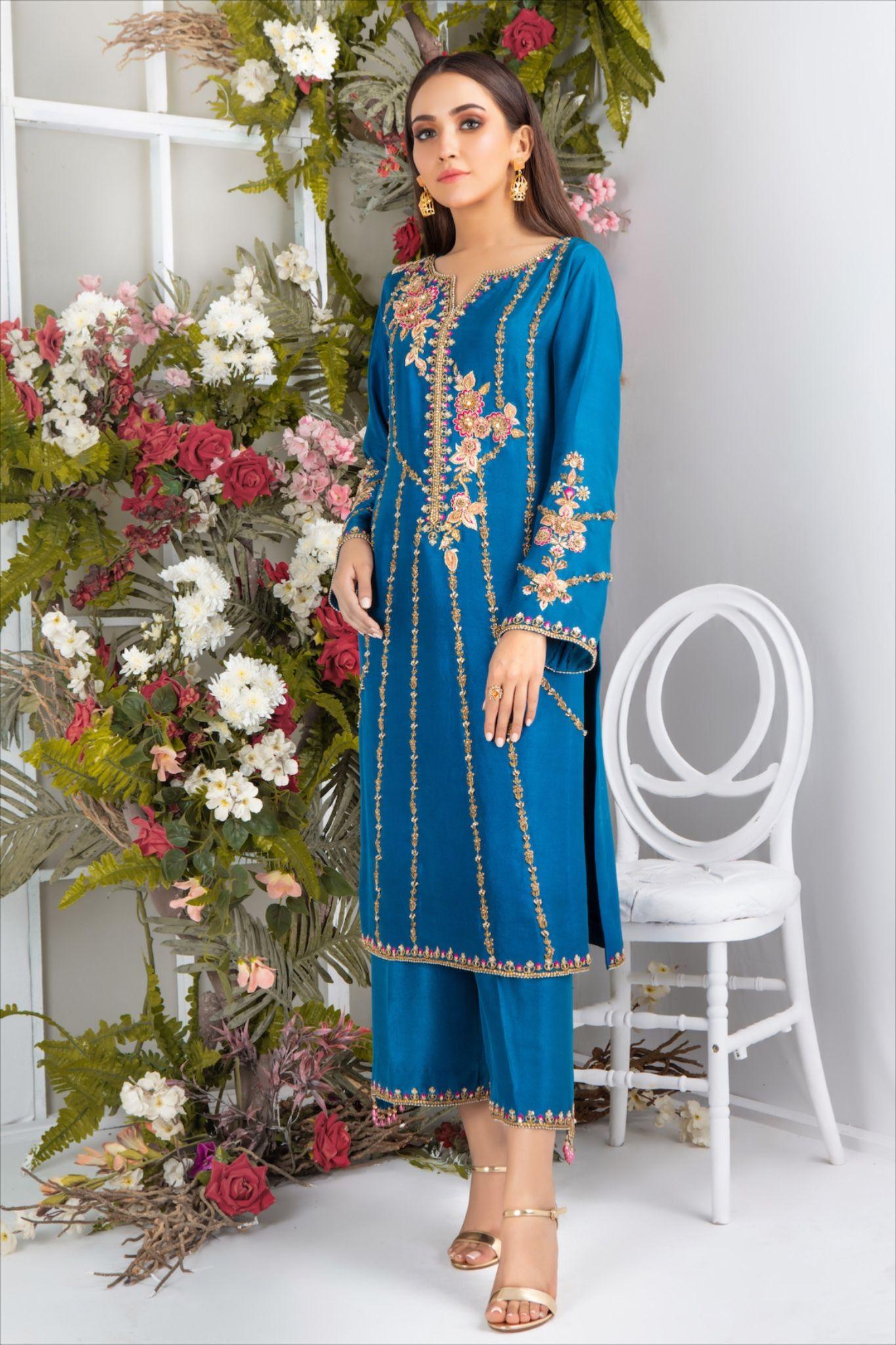 Azure | Kurti designs party wear, Stylish dress designs ...