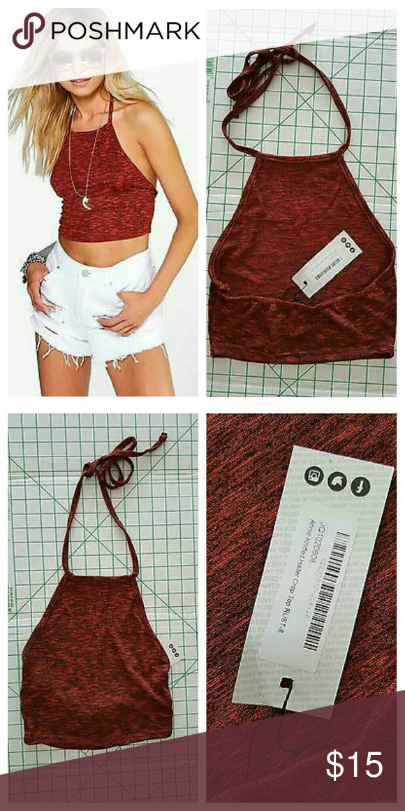 95c761a2be973e Boohoo Annie Knitted Halter Crop Top Boohoo Annie Knitted Halter Crop Top  Color Rust Red Size 4 US New with tag Boohoo Tops