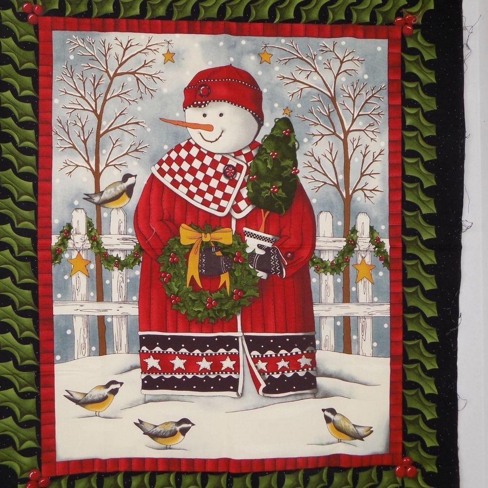 SNOWMAN FABRIC PANEL quick QUILT HAPPY SNOWMAN WALLHANGING door panel NEW