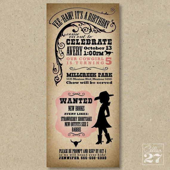 Yee Haw Western Themed Birthday Invite (Child or Adult, Pink or Blue) from Cellar27 on Etsy