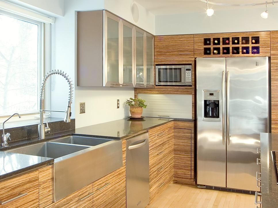 Striking Zebra Wood Cabinets Fill This Contemporary Kitchen