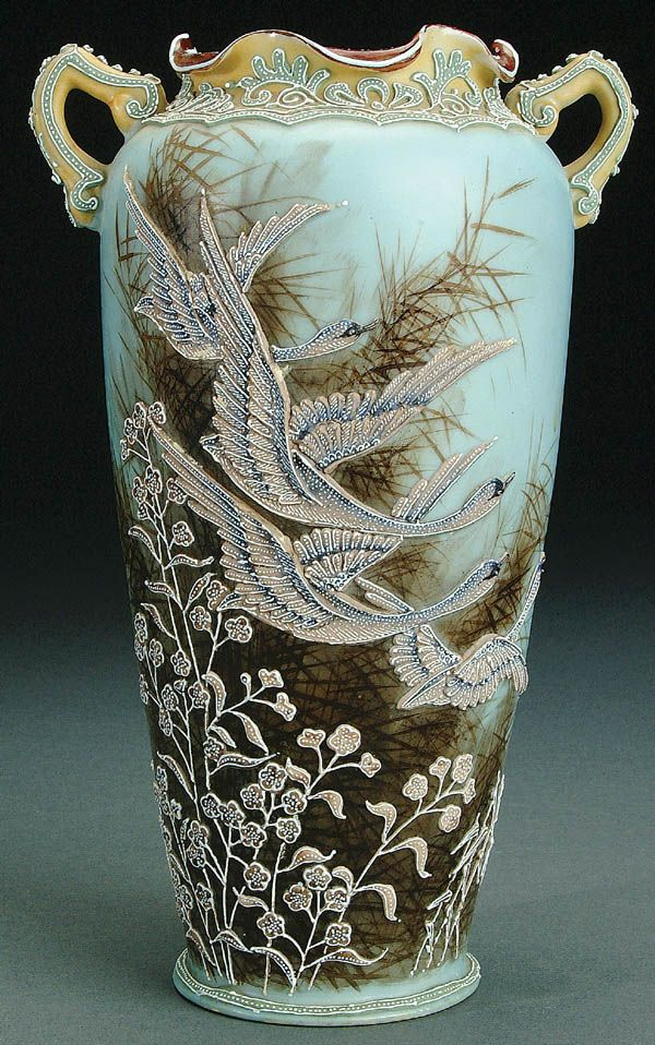 A Nippon Moriage Decorated With Snow Geese Avian Art Vases Urns