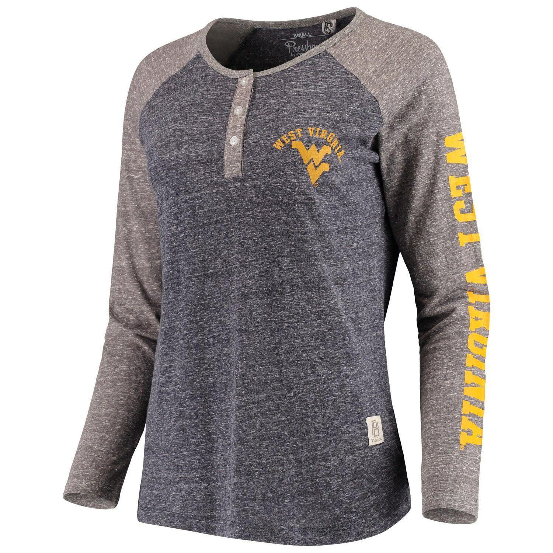 Women's Pressbox Navy West Virginia Mountaineers Avery Knobi Raglan Henley Tri-Blend Long Sleeve T-Shirt #westvirginia