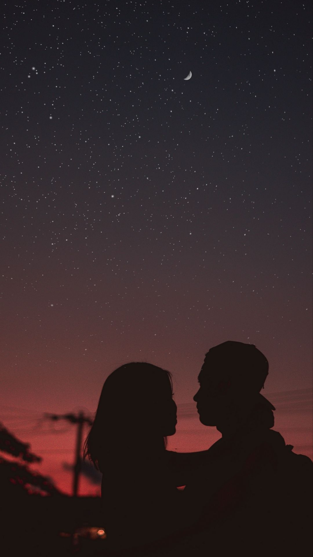 Download Wallpaper 1080x1920 Couple Silhouettes Hugs Night Starry Sky Samsung Galaxy S4 S5 Note Sony Xperia Z Starry Sky Galaxy Photos Iphone Wallpaper