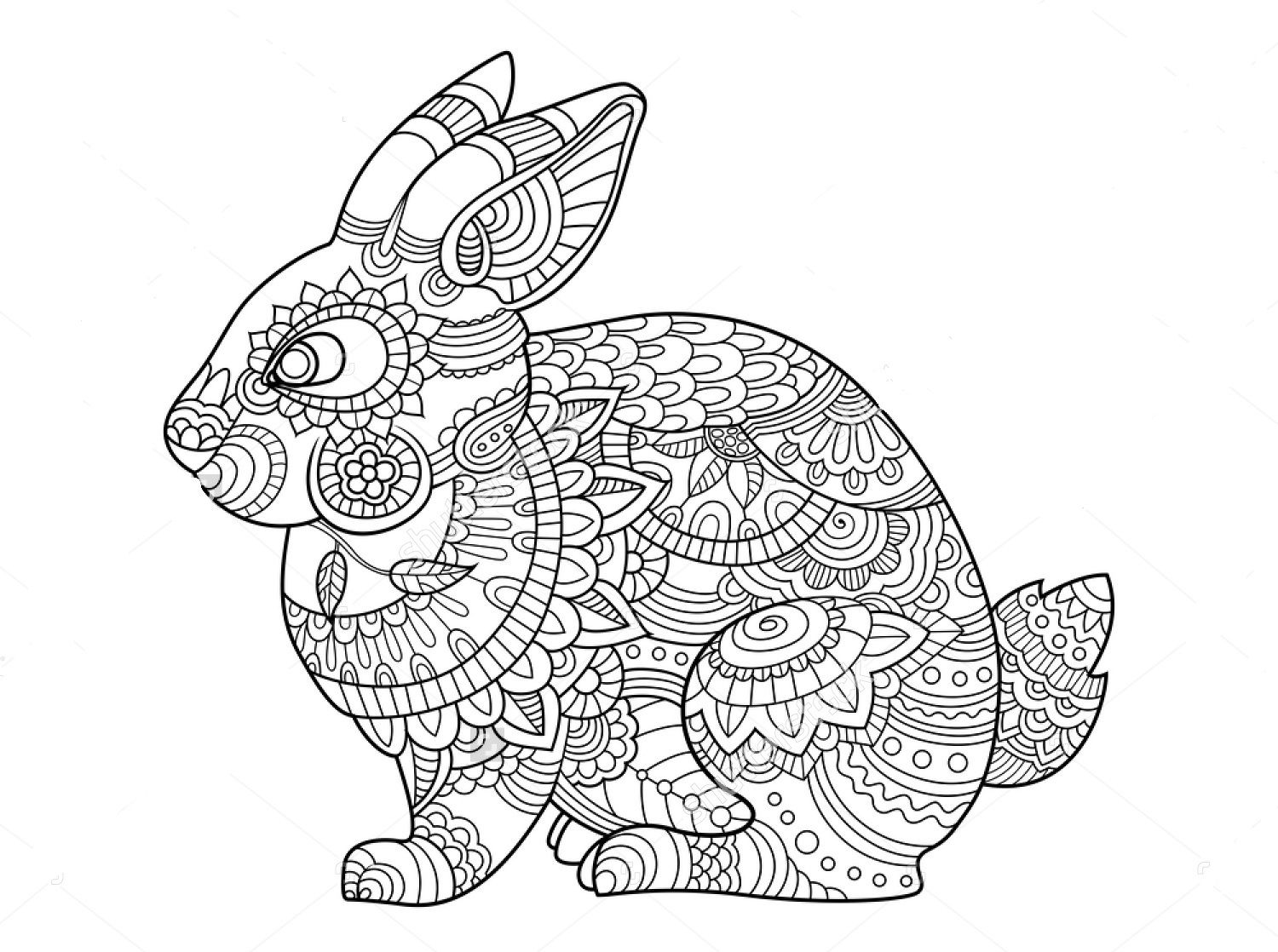 Rabbit Zentangle Coloring Page Bunny Coloring Pages Mandala Coloring Pages Animal Coloring Pages