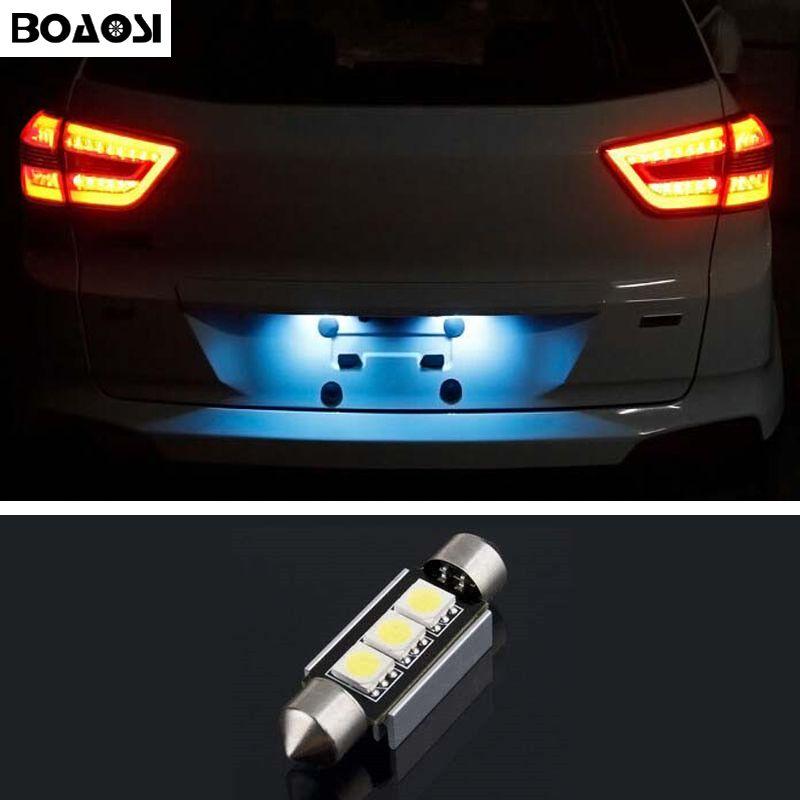 Boaosi 1x Dome Festoon 5050smd Error Free Bright White Led License Plate Lights For Vw Passat 3c B5 B6 Golf 3 4 5 6 Polo Car Lights Bright White Led Vw Passat