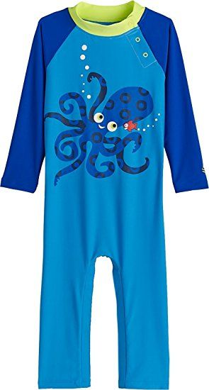 Sun Protective Toddler Octopus Surfing Bathing Suits Baby Boys Beach One-Piece Swimsuit UPF 50
