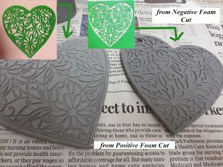 positive and negative foam cut out from silhouette die cutter used on raw clay!