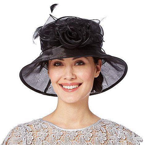 531f02545 Hatbox Black twisted rose trim organza hat | Debenhams | Chapeau ...