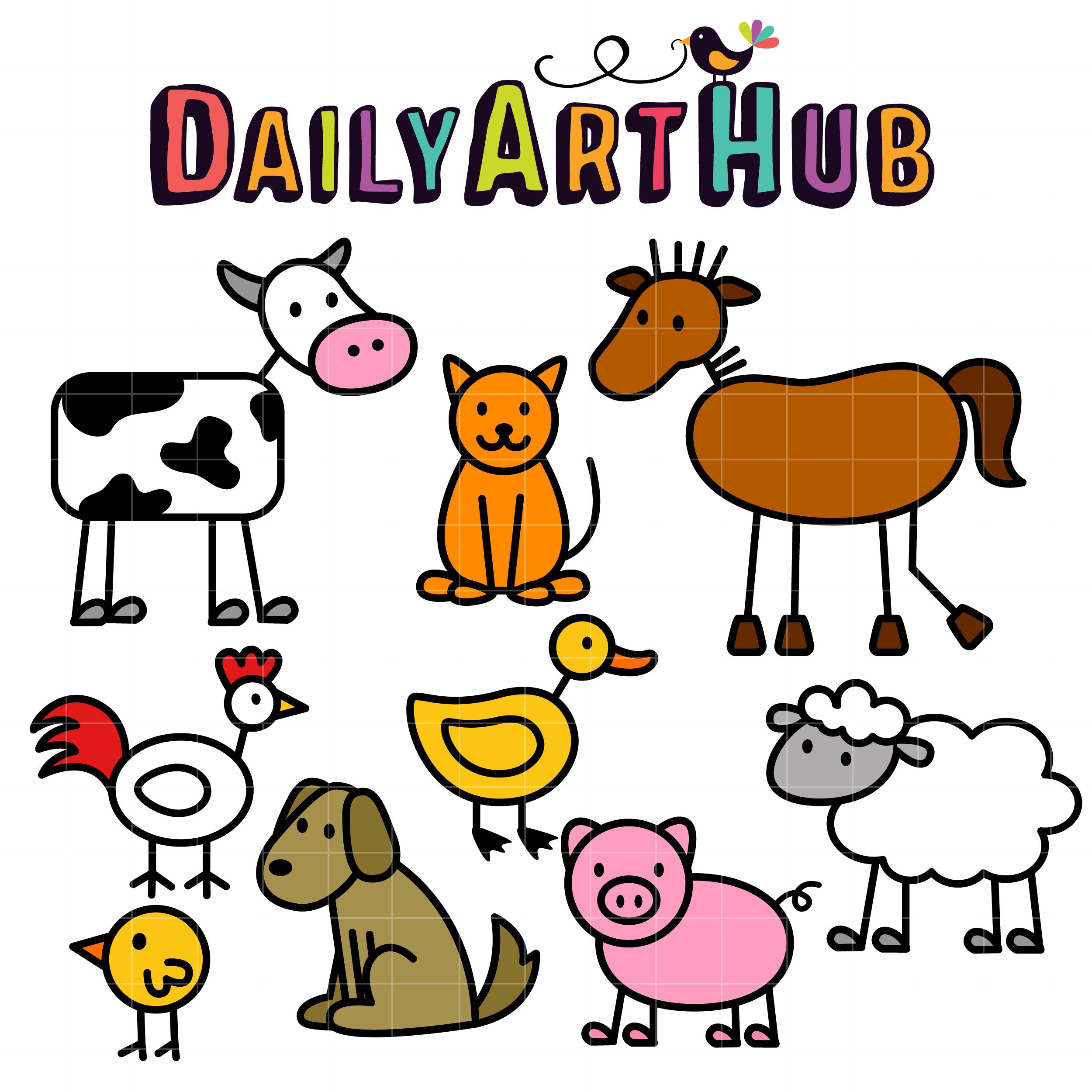 Stick Farm Animals Clip Art Set Daily Art Hub Free Clip Art Everyday Animal Doodles Farm Animal Painting Animal Clipart