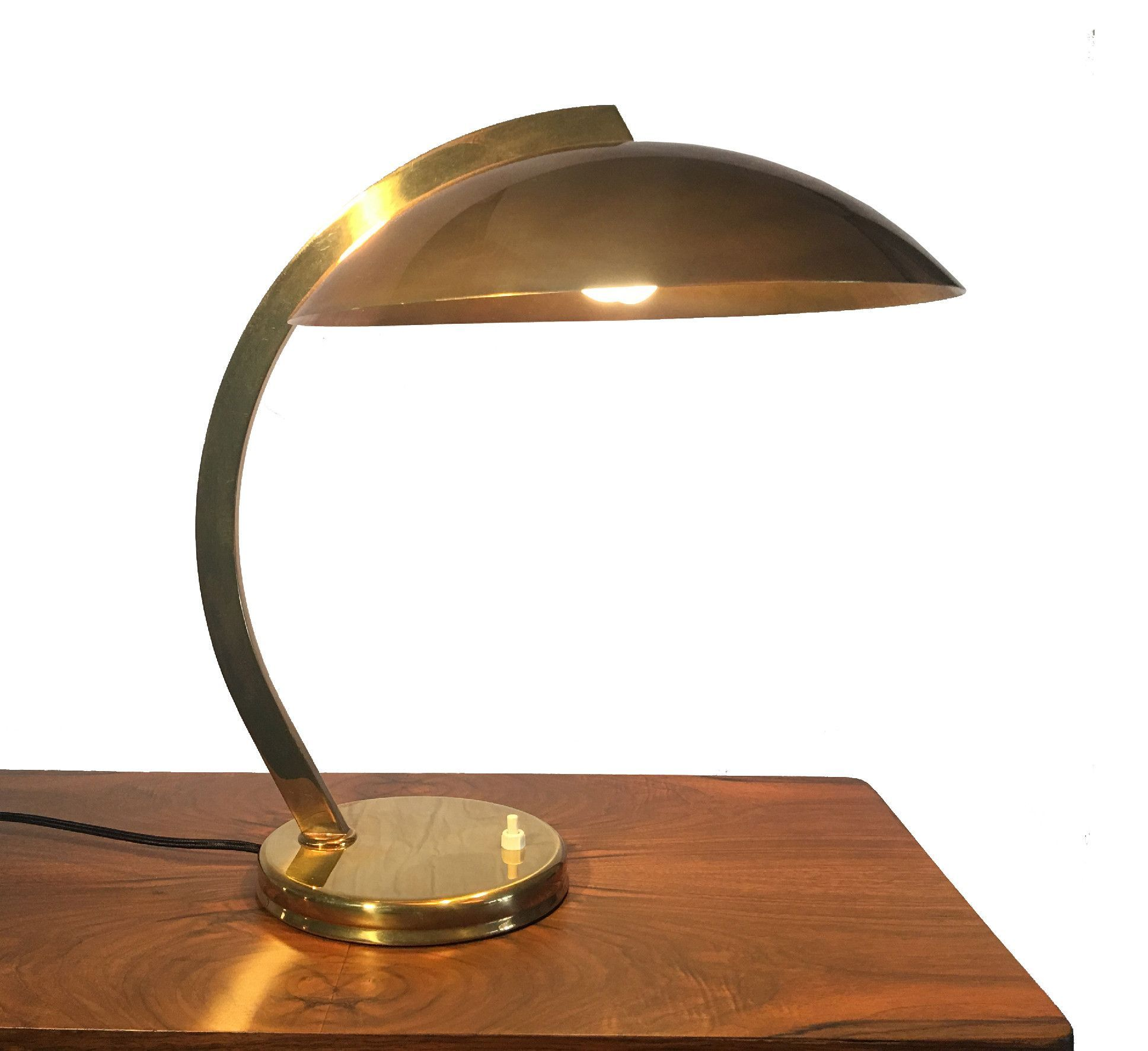 Vintage French Deco Desk Lamp With Domed Metal Shade Brass