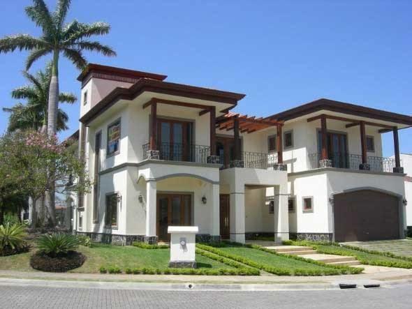 Fachada de casa estilo colonial moderno 014 maqueta casa for Fachadas de casas estilo moderno