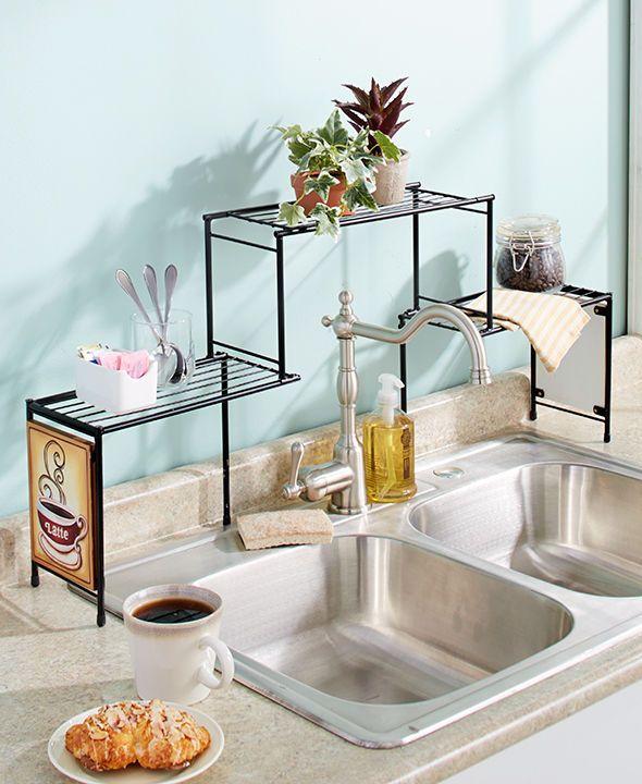Kitchen Sink Shelf Organizer: Details About Elevated Over The Sink Shelf Kitchen