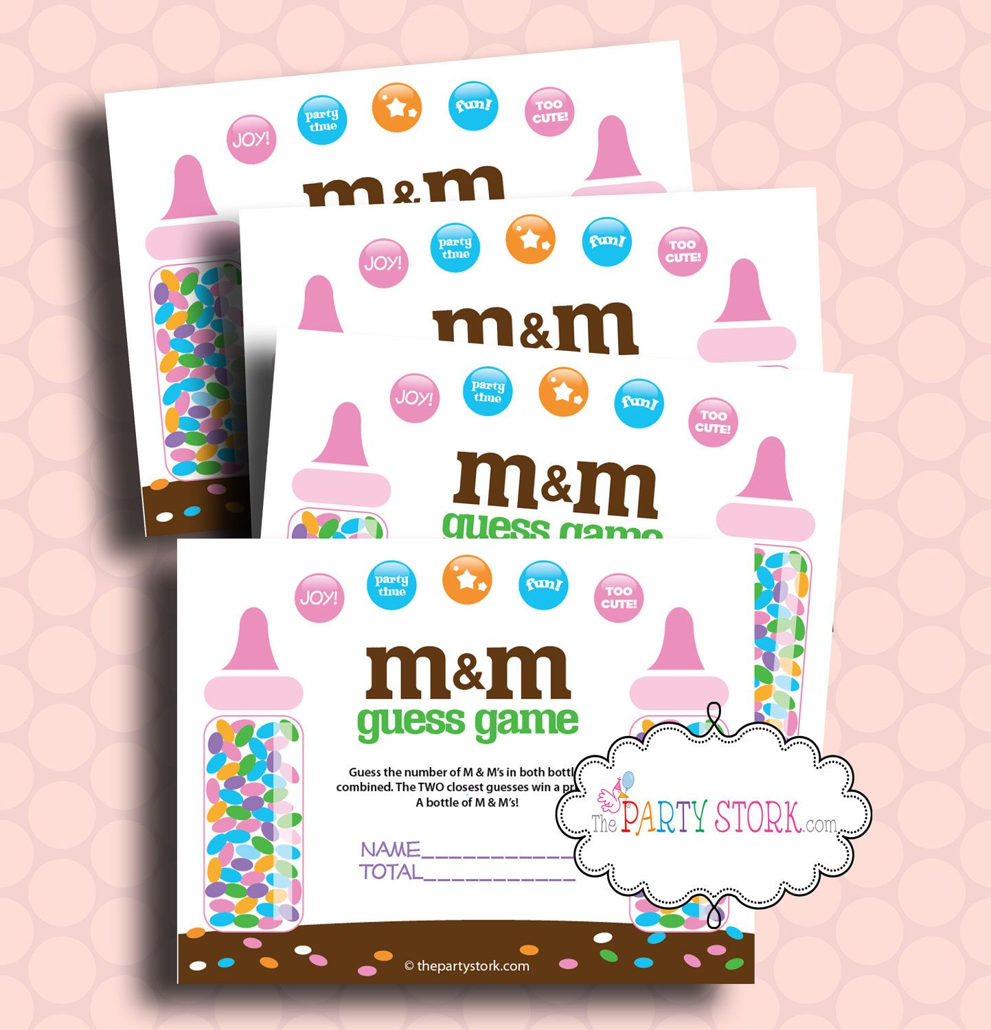 M & M Guess Game Baby Shower Game PRINTABLE Candy by thepartystork