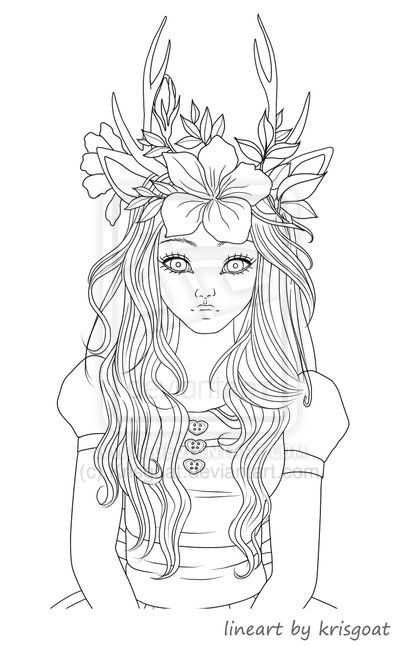 vampire coloring pages for adults | Fawn Girl Coloring Page by ...