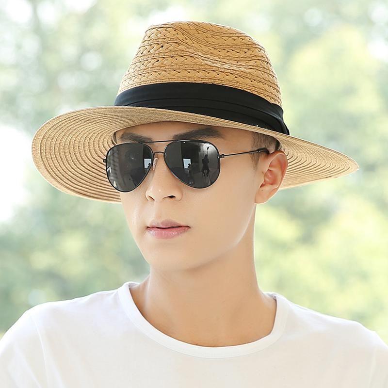 Muchique Panama Hat Straw Hat Men s Summer 2018 Beach Sun Hats Adult Wide  Brim Raffia Straw Hat Outside Travel Sun Cap B-8057 d933953a71a