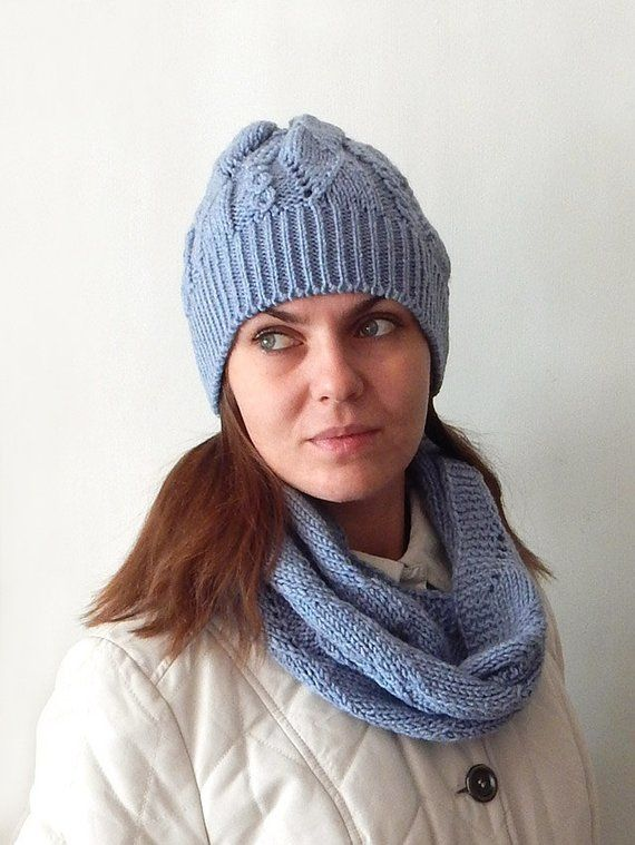 0803423b10d Knitted blue beanie hat and cowl set