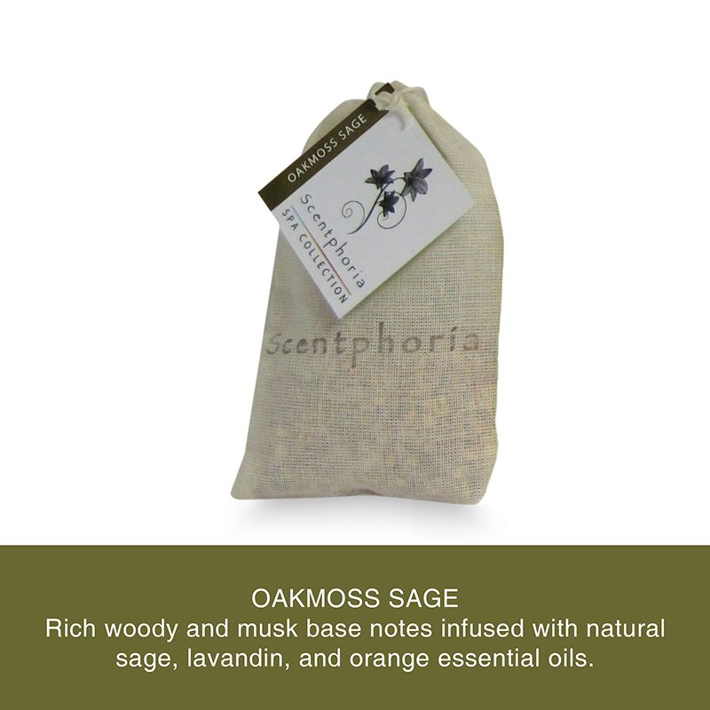 Scentphoria Potpourri Sachet in Oakmoss Sage. Vegan, Cruelty Free, Sulfate Free and Paraben Free. Hand made in the USA.