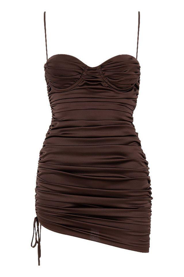 Clothing : Mini Dresses : Mistress Rocks 'Afterglow' Chocolate Ruched Mini Dress