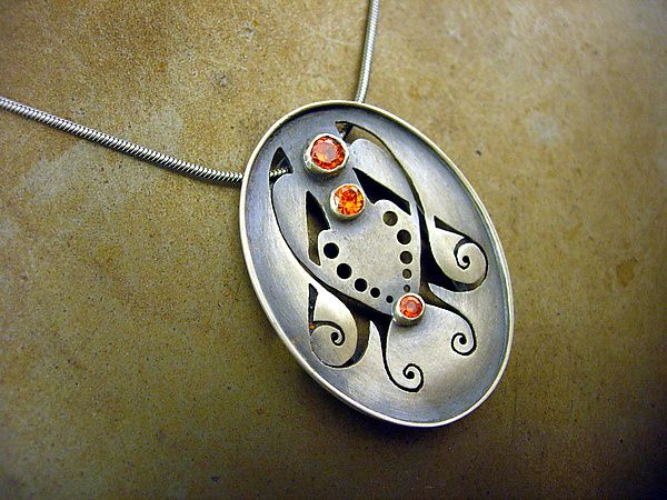 Large Oval Necklace 2 with Orange Cubic Zirconia by Brittany Foster