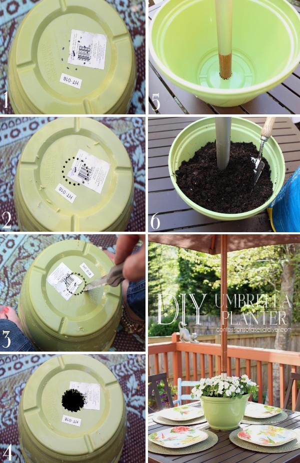 DIY Umbrella Planter Bloggers' Best DIY Ideas Patio
