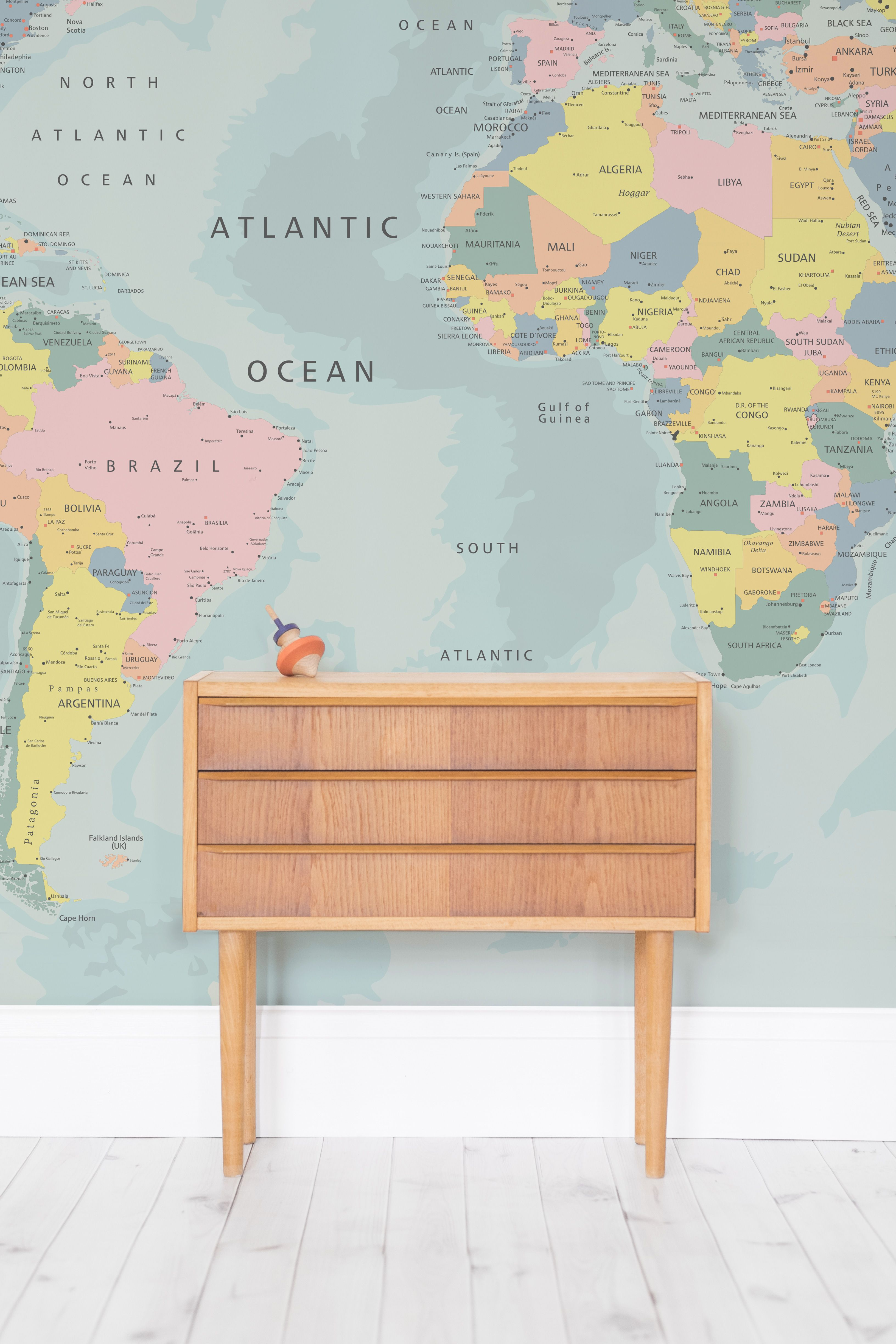 After a playful yet educational wallpaper design for your little after a playful yet educational wallpaper design for your little one this world map wall gumiabroncs Choice Image